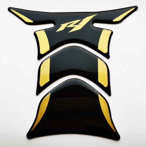 Yamaha YZF R1 YZF-R1 Piano Black  matt Gold Motorcycle tank Protector pad Decal Sticker