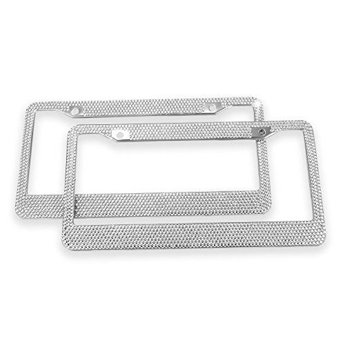 Ohuhu Upgraded 2-pack Bling Diamond License Plate Frames with 7 Crystal Rows Rhinestone License Frames