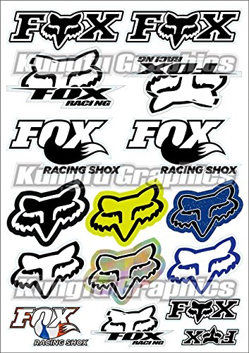 Kungfu Graphics Fox Head Micro Sponsor Logo Racing Sticker Sheet Universal 72x 102 inch White