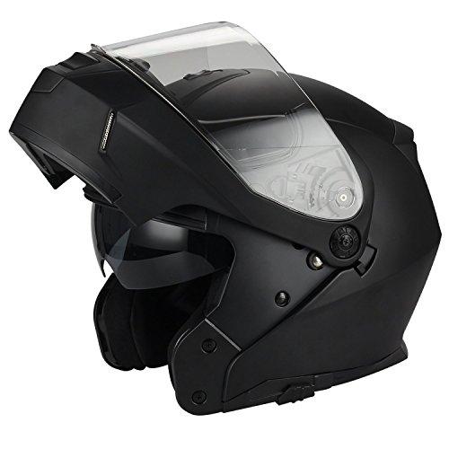 Traiangle Motorcycle Helmets Modular Dual Visor Flip Up Small Matte Black