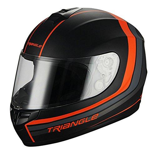 Triangle Full Face Matte BlackOrange Street Bike Motorcycle Helmet DOT Medium