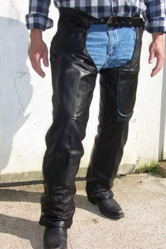 1 RIDERS CHOICE CHAPS - TNC BRAND High-End Motorcycle Biker BLACK Riding Chaps - Premium Cow Hide Leather - YKK Zippers - Stay Fit Designed Pants MenWomen Bikers Classic Lined USA