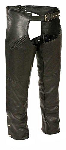 Milwaukee Mens Slash Pocket Leather Chaps Black X-Large
