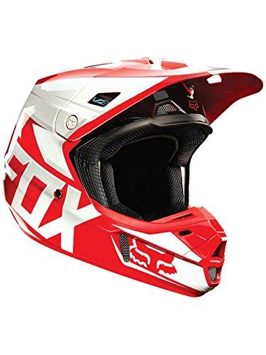 Fox Racing Race Mens V2 Motocross Motorcycle Helmet - Red  Large