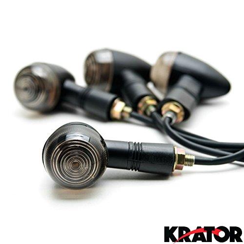 Krator® 4x Universal Motorcycle Black Mini Bullet Turn Signals Blinker Smoke Lens Pack For Any Harley, Honda,