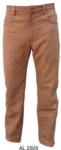 Mens Brown Tan Heavy Duty N Soft Buffalo Leather Jean-style Pants W 5 Pockets N Ykk Hardware