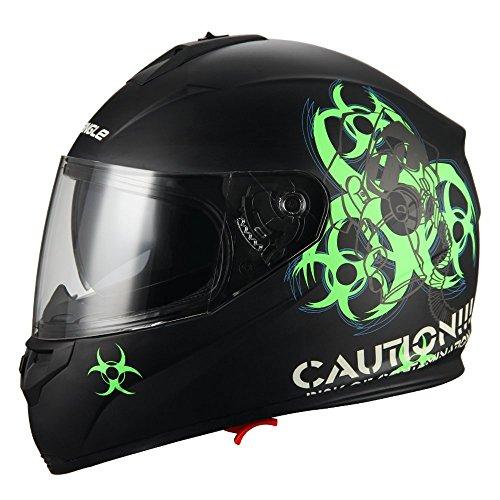 """Biohazard"" Full Face Matte Green Dual Visor Street Bike Motorcycle Helmet by Triangle DOT Medium"