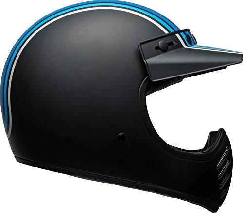 Bell Moto 3 Classic Helmet - Matte Silver  Black  Blue Stripes - Medium
