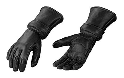 Motorcycle Biker Black Deer Skin Leather Winter Gauntlet Gloves with Zip Off Cuff Large