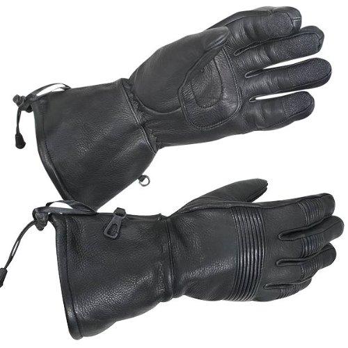 Xelement XG856 Mens Black Deerskin Insulated Padded Motorcycle Gauntlet Gloves - Small