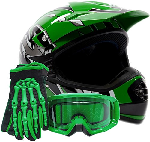 Youth Offroad Gear Combo Helmet Gloves Goggles Dot Motocross Atv Dirt Bike Mx Motorcycle Green (x-large)