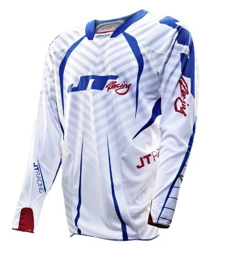 JT Racing USA Evolve Protek Dirt Bike MX Motocross Jersey with Fader Graphics RedWhiteBlue Medium