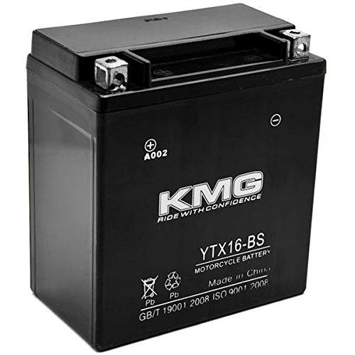 KMG YTX16-BS Battery For Kawasaki 1500 VN1500 Vulcan Mean Streak 2002-2003 Sealed Maintenace Free 12V Battery High Performance SMF OEM Replacement Powersport Motorcycle ATV Snowmobile Watercraft