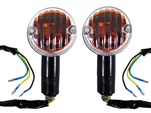 Kawasaki LTD 450LTD 700 Black Motorcycle Turn Signal Indicator BlinkersRunning Lights Combo 3 Wire Pair