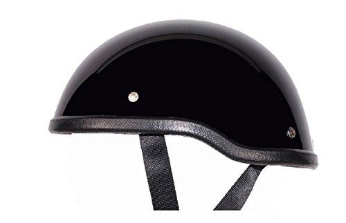 Low Profile Novelty Harley Chopper Motorcycle Half Helmet Skull Cap Shiny Black Medium 22 14 - 22 34