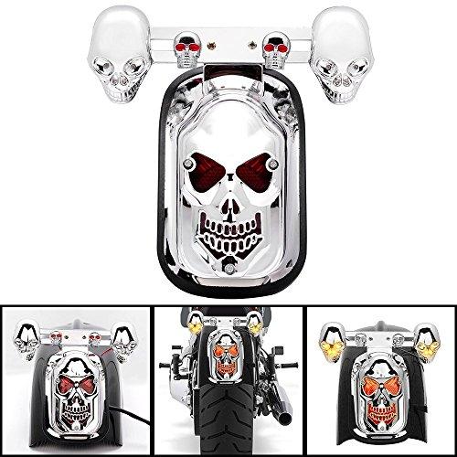 BADASS SHARKS Chrome Motorcycle Skull Integrated Brake Stop Tail Turn Signal Blinker Indicator Light For Harley Sportster Dyna Glide Custom Bobber Chopper Cruiser