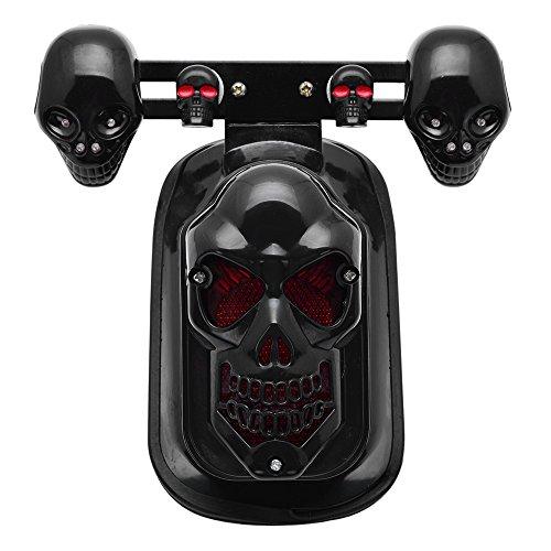 Black Skull Integrated Brake Stop Tail Turn Signal Blinker Indicator Light For Motorcycle Harley Sportster Dyna Glide Custom Bobber Chopper Cruiser