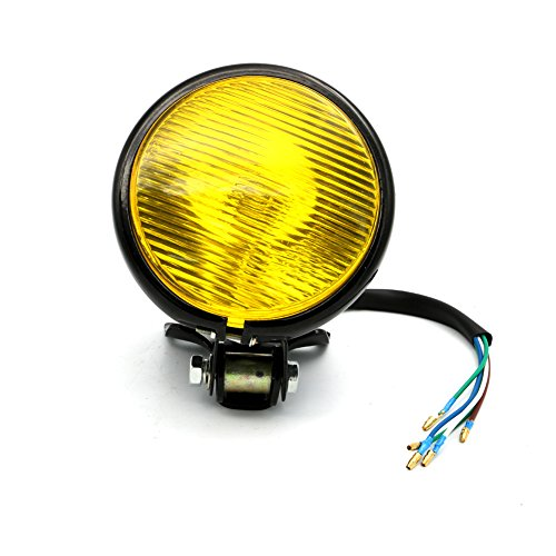 Motofans 5 35W Black Motorcycle Amber Headlight Head Lamp For Harley Bobber Chopper