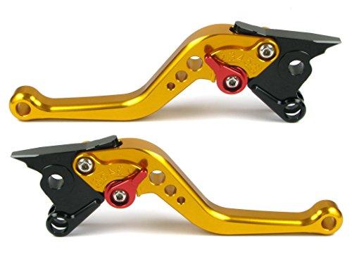 Emotion Performance-STD-Short-Series Motorcycle Clutch Brake Lever Set for Ducati STREETFIGHTER  S 2009-2013 - Red  Gold AdjusterLever