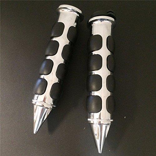 HTT Chrome Spike Rubber 1 Handlebar Grips For Kawasaki Nomad 1500 Fi Drifer Classic Mean Streak 800 1600 Vulcan 2000