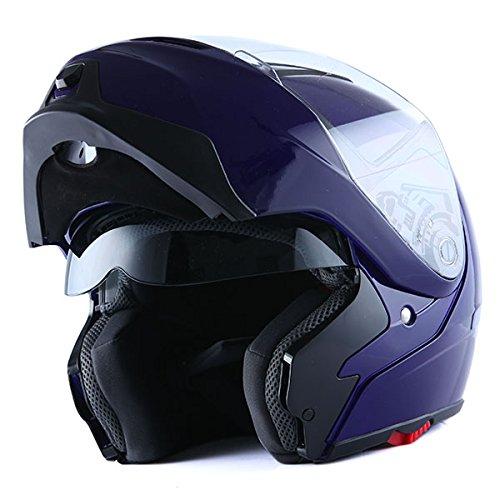 1Storm Motorcycle Street Bike ModularFlip up Dual VisorSun Shield Full Face Helmet GlossyBlue X-Large