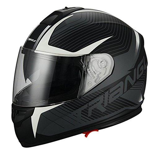 Full Face Matte White Dual Visor Street Bike Motorcycle Helmet for Triangle DOT Large