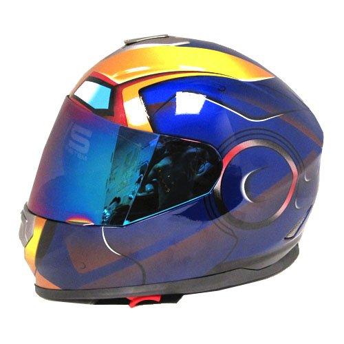 Iron Man DOT Motorcycle Bike Dual Visor Full Face Helmet Golden Blue Size Medium 55-56 CM217220 Inch