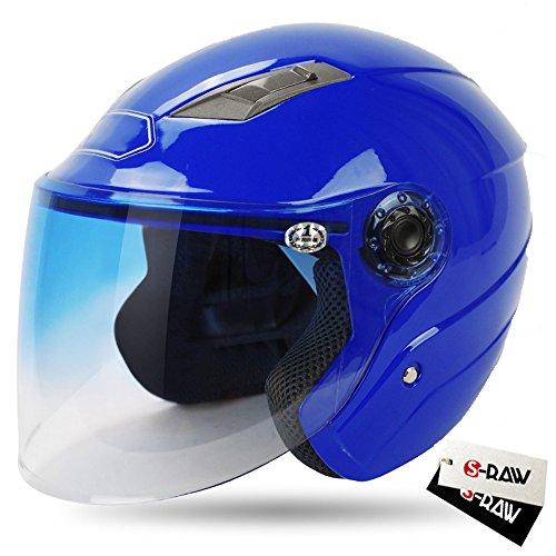 S-Raw DOT Motorcycle Helmet 34 Open Face Helmet with Shield Visor Scooter Helmet Blue Medium
