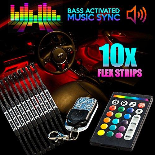 18 Color 10pcs RGB Motorcycle ATV Flexible Strip LED Light Lamp NEON Remote Kit for Honda CX FT GB 360 500 650