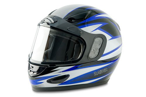 Raider Blue Large Full Face Snowmobile Helmet