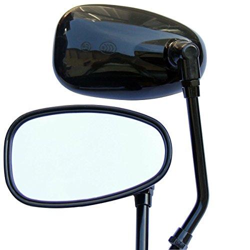 Black Oval Rear View Mirrors for 1970 Suzuki AC50 Maverick