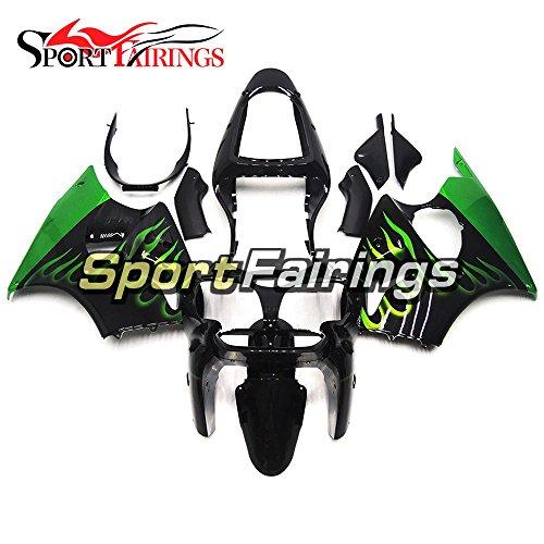 Sportfairings Black Green Flames ABS Plastics Injection Motorcycle Fairing Kits For Kawasaki ZX6R Ninja636 Year 2000 2001 2002 Fairings Motorbike Cowling