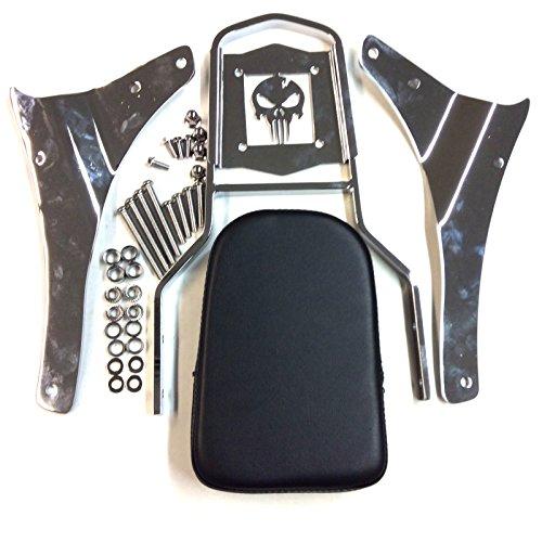 SMT- Motorcycle Chrome Skull Backrest Sissy Bar For 2005 - 2012 Suzuki Boulevard M50 VZ800 C50 VL800 C50T VL800T C50C VL800C 2001 - 2004 Suzuki Intruder Volusia 800 VL800