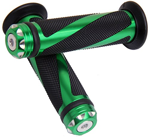 Green Motorcycle 78 22mm Handle Bar Grips with End for 2005 Suzuki RMZ450