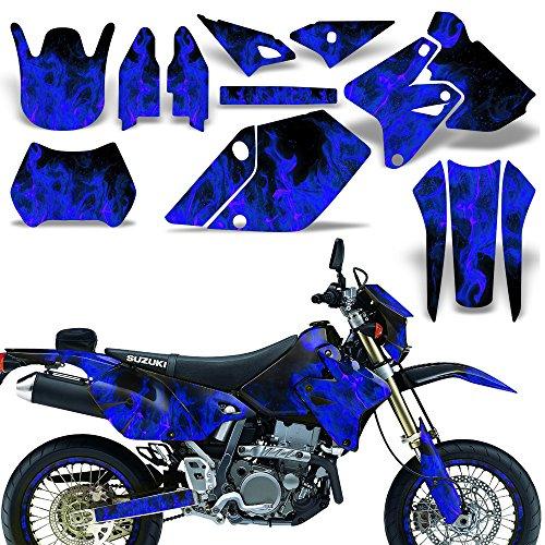 Suzuki DRZ400 SM E Decal Graphic Kit Dirt Bike Sticker With Backgrounds DRZ 400 FLAMES BLUE