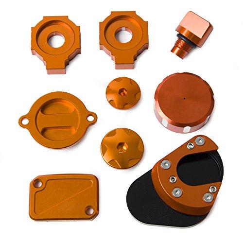 NICECNC Engine Plug Kickstand Extension Pad Front Master Cylinder Cover Oil Filter Cover Cap Rear Axle Adjuster Blocks Brake Reservoir Cap for Duke 125200390 2011-Later