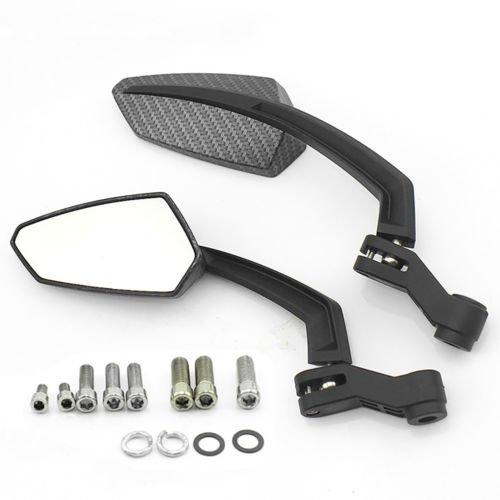 Triclicks Motorcycle Carbon Fiber Rear View Mirrors For Honda Yamaha Suzuki Kawasaki