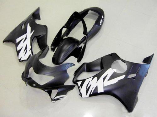 Matte Black w White Fairing Complete Bodywork ABS Plastic Painted Injection Molding Kit for 1999-2000 Honda CBR 600 F4 CBR600F4 CBR600 600F4 Windshield Heat Shield
