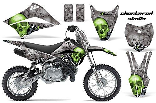 Kawasaki KLX110L 2010-2018 MX Dirt Bike Graphic Kit Sticker Decals KLX 110 L CHECKERED GREEN