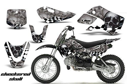 Kawasaki KLX110 2002-2009 MX Dirt Bike Graphic Kit Sticker Decals KLX 110 CHECKERED SILVER