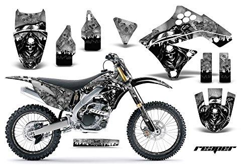 Kawasaki KXF250 2009-2012 MX Dirt Bike Graphic Kit Sticker Decals KX250F WITH Number Plates REAPER SILVER