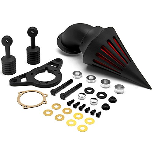 Krator Harley Davidson Softail Night Train Fat Boy Dyna Super Glide Low Rider Wide Glide Touring Road King Road Glide Black Aluminum Cone Spike Air Cleaner Kit Intake Filter Motorcycle 2001-2009