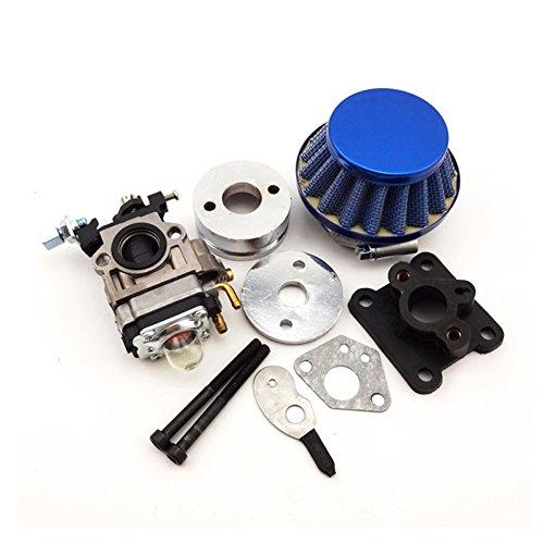 TC-Motor Blue 15mm Racing Carburetor Kit Carb Air Filter Stack For 47cc 49cc 2 Stroke Mini ATV Quad Dirt Pocket Bike