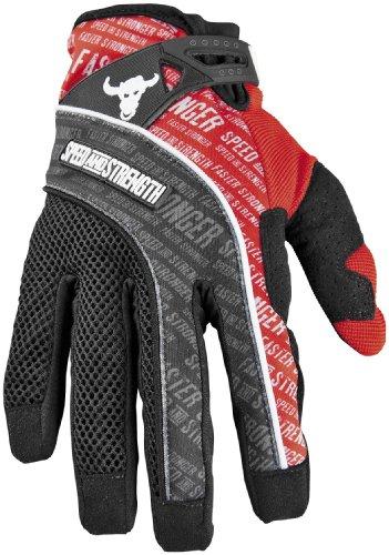 Speed Strength Lunatic Fringe Mesh and Textile Gloves  Distinct Name Red Primary Color Black Size Md Gender MensUnisex Apparel Material Textile 87-6401