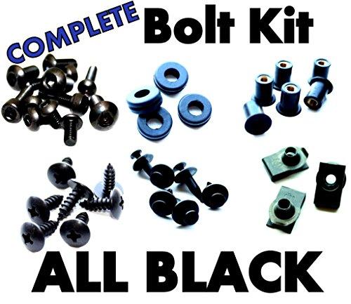 Complete Black Fairing Bolt Kit Screws Fasteners for Kawasaki ZZR-1200 2002-2005