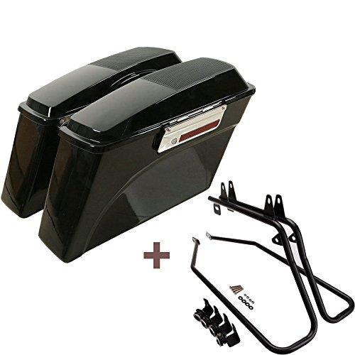 ASD Vivid Black Hard Saddlebags with Speaker Lids W Black Saddle bag Conversion Support Mount Bracket Kit Latch Lock Key Set For 1997-2017 Harley Davidson Softail FXST
