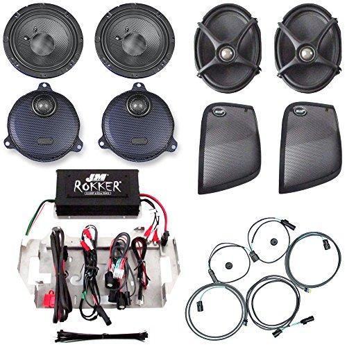 J&M Audio Rokker XXR 4 Speaker and 630 Watt Amplifier Kit for 2014 and Newer Harley-Davidson Street Glide models adding rear saddlebag speaker lids - HC-630XXR-SG14LID