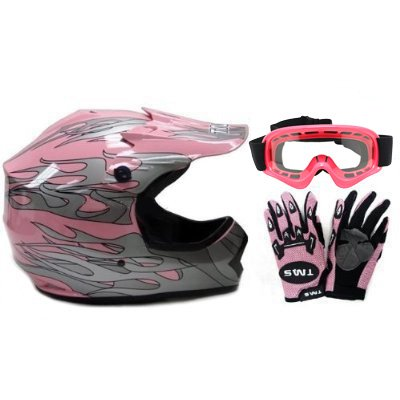 TMS Youth Kids Pink Dirt Bike ATV Motocross Helmet with Goggles and Gloves Medium