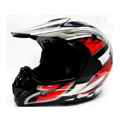TMS Adult Tms RED Black Dirt Bike ATV Motocross Helmet Off-road Extra Large