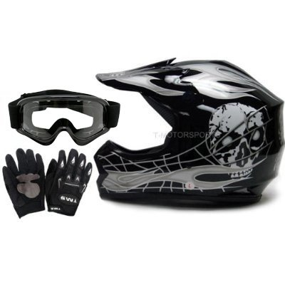 TMS Youth Kids Black Silver Skull Flame Motocross Helmet Goggles and Gloves Large